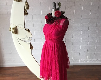 Ready Made- Hot Pink Full Lace w/ Bandeau Vintage Style~ Octopus Infinity Wrap Dress with Full Circle Skirt