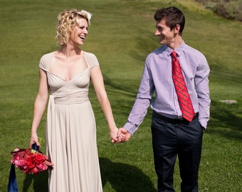 Cape Cod Sand Convertible Wrap Gown- 4 way stretch- Elopement Wedding, Bridal, Maternity, Plus Size, Bridesmaids
