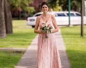 """Ready to Ship- Petite, 42"""" Length ~ Blush Lace over Queensland Rosewater Infinity Wrap Dress- Wedding Gown, Bridesmaids, Maternity, Etc."""