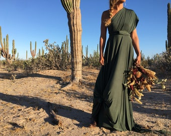Coralie Beatrix Humboldt Evergreen Dark Olive Long Octopus Convertible Wrap Gown- Converts to Strapless, Backless, Grecian