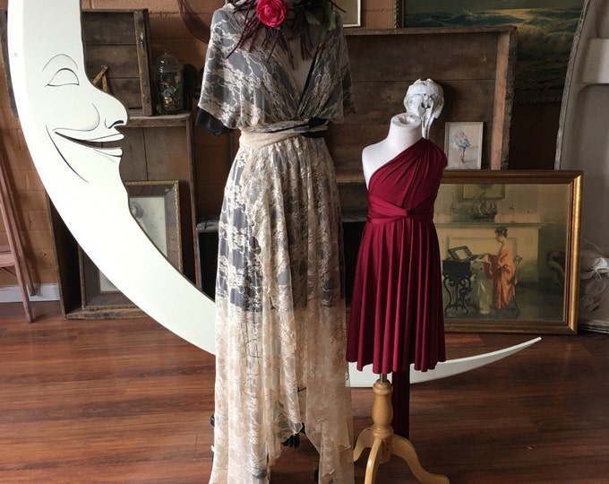 Lace Tulip Cut Infinity Dress with short slip and Double Straps. Custom choose Fabrics- Tea Taupe and Black Coral~ Bridal, Goth, Boho