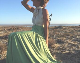 Two Toned Infinity Wrap Dress- Custom Choose your Fabrics~ Nautical Wedding, Bridesmaids, Summer Safari