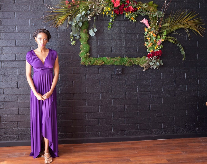 "ReadyMade- Standard Xtra Long 50"" Stardust Royal Purple- Tulip Cut Long Maxi Dress -Octopus Infinity Wrap Gown~ Bohemian, Maternity, Prom"