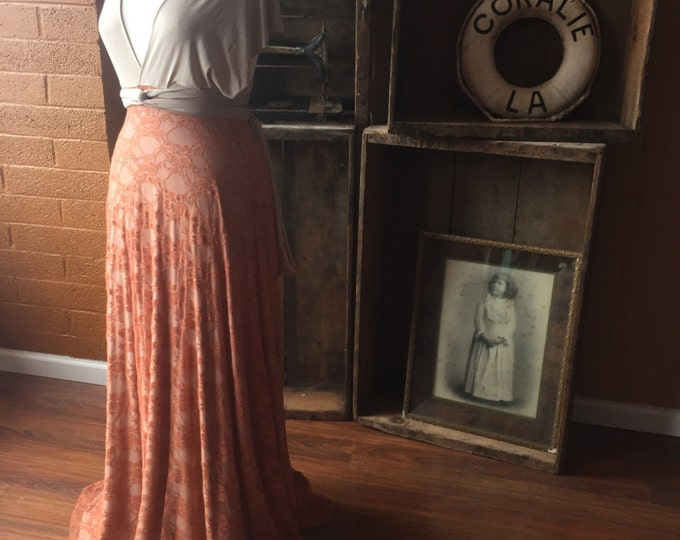 Vintage Style Lace or Chiffon Long Infinity Wrap Dress- Choose your Fabrics- Wedding Gown, Bridesmaids, Maternity, Etc.