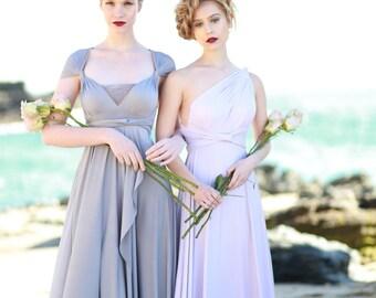 Tulip Cut Infinity Wrap Dress. Custom Choose Your Fabric. Shown in Shiplap Grey Satin- Bohemian Bridal, Beach Wedding