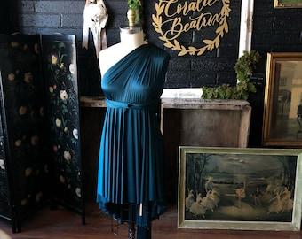 Ready Made-Standard sz. High/Low- Honu Hunter - Short Circle Skirt Infinity Wrap Dress- Party Dress, Wedding Guest