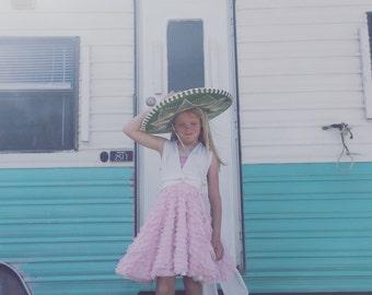 Girls Pink Anchor Short Ruffle Full Circle Skirt Octopus Infinity Wrap Dress~Octopus Infinity Twirl Dress-Flower Girl, Wedding, Party Dress