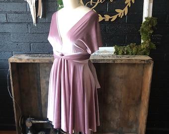 "Ready Made- Standard sz. Mini 22""L- Muted Mauve VELVET Circle skirt Octopus Infinity Wrap Dress~ Bridesmaids, Wedding Guest"