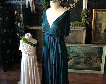 "ReadyMade- Plus Size, 46"" long Honu Hunter Tulip Cut Long Maxi Dress -Octopus Infinity Wrap Maxi Gown~"