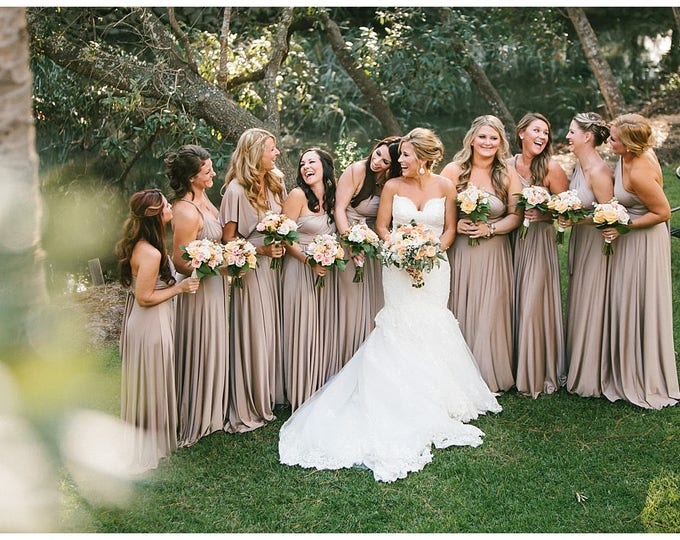 Featured listing image: Trestles Sand Champagne Shimmer- Silky Satin Jersey-Octopus Convertible Infinity Wrap Dress. Bridesmaids, Wedding, Prom, etc.