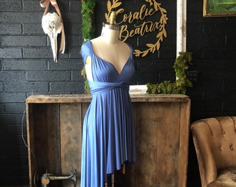 English Channel Blue- Short Circle Skirt Infinity Wrap Dress- Party Dress, Wedding Guest