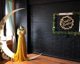 Gold Celestial Lace Overskirt Octopus Infinity Wrap Dress- Custom Combine Fabrics- Marigold, Mustard, Bridesmaids