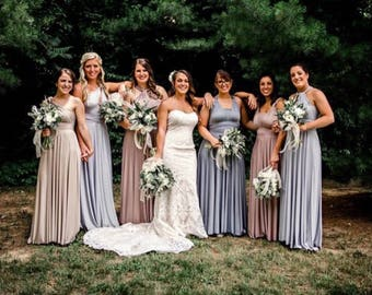 Mismatched Bridesmaids~ Long Maxi  Dress- Choose your Fabric from over 55 colors- Octopus Infinity Wrap Dress- The Mismatched Bridesmaid