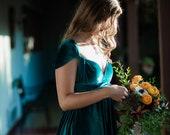 Jewel Teal Velvet- Coralie Beatrix Long Octopus Infinity Convertible Wrap Gown Dress~ Bridesmaids, weddings. etc.