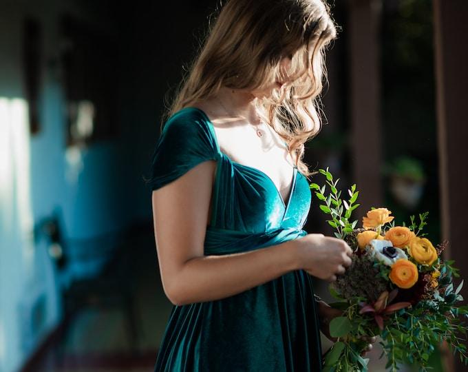 Featured listing image: Jewel Teal Velvet- Coralie Beatrix Long Octopus Infinity Convertible Wrap Gown Dress~ Bridesmaids, weddings. etc.
