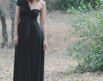 Black Coral-Long Octopus Infinity Wrap Gown- Bridesmaids, Wedding, LBD
