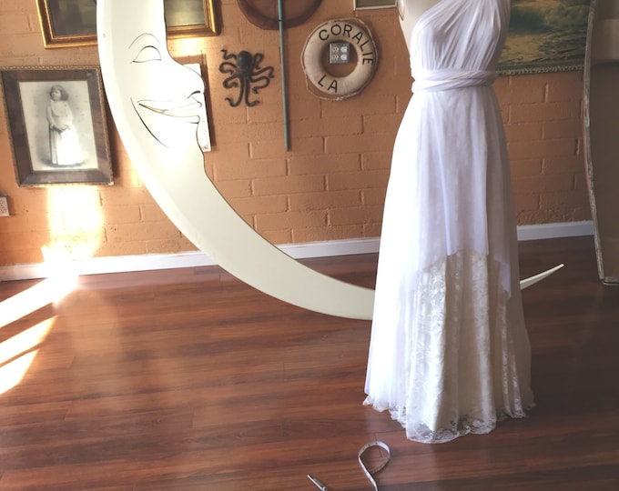 Tulle Bridal White Whimsical High/ Low Layered Lace and Chiffon Octopus Infinity Wrap Wedding, Bridal  Gown