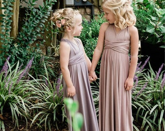 Girls/ Childs Long Convertible Infinity Wrap Dress- Choose your Fabric Color- Bridesmaid-Party-Flower Girl