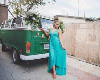 High/ Low cut Prom Maxi Infinity Wrap Dress-Custom Choose from 55+ Colors ~ Laguna Pool Turquoise~ Grecian, Boho Prom, Bridesmaids