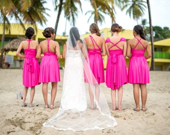 Fiesta Hot Pink- Octopus Infinity Short Wrap Dress~ Bridesmaids, Wedding, Maternity Dress