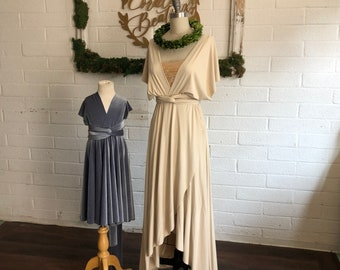 "Ready Made-Weathered Windmill Ivory Standard sz. <34""w-TULIP PETAL CUT 44""L~ Long Octopus Infinity Wrap Gown~ Bridesmaids, Wedding"