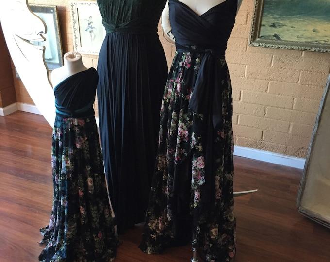 Black Floral Tulip Cut with Lace Octopus Wrap Dress~