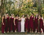 Tulip Cut Big Sur Burgundy Octopus Convertible Wrap Gown- Converts to Strapless, Backless, Grecian, etc