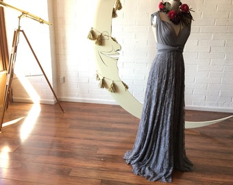Gray Gardens Lace- Vintage Style Octopus Infinity Wrap Dress- Custom choose Fabrics-Wedding Gown, Bridesmaids, Maternity, Etc.