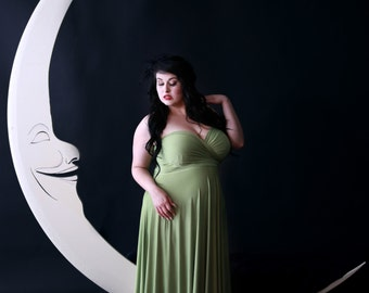 Fern Greenery Satin Jersey- Octopus Convertible Infinity Wrap Long Dress. Bridesmaids, Maternity, Plus Size. 1920s Gatsby, FLapper style