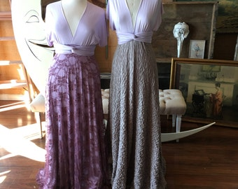 """Ready to Ship- Plus Size, 46"""" Length ~Mulberry Lace Sea Thistle Lavender Infinity Wrap Dress- Wedding Gown, Bridesmaids, Maternity, Etc."""