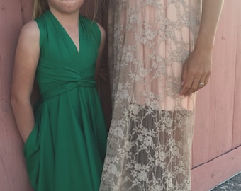 Girls Short Convertible Wrap Dress- Octopus Infinity Twirl Dress-Custom Choose fabric- Emerald Green Junior Flower Girl, Weddings, Party