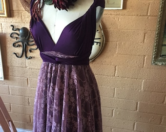 Poipu Plum + Mulberry Lace~  Octopus Infinity Wrap Dress~ Short circle skirt dress- Bridesmaids, Maternity, Plus Size, etc.