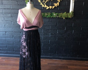 "Ready Made- Petite- 51"" Long Back~ Spanish Style Black Lace and Heather Tulip Cut Infinity Dress with short slip. Prom, wedding Guest,"