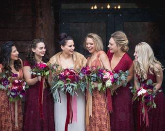 Long Persimmon Lace Vintage Style Dress with Bellport Crimson short  slip Octopus Infinity Wrap Dress.  Bridesmaids, Wedding