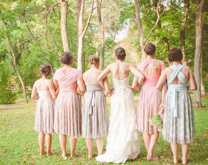 Lace Full Circle Skirt Octopus Convertible Wrap Dress- Custom Choose your Fabrics!