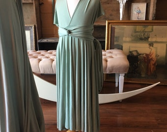 "Ready to Ship~ Child's 22"" Long  Girls/ Childs Long Succulent Sage Silky Satin Infinity Wrap Dress"
