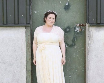 Coralie Vintage Ivory Lace Straps with Lace overskirt Infinity Wrap Wedding Dress~ All Sizes, Plus Size, Maternity