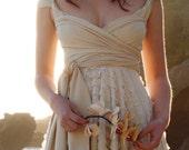 "Ready to Ship- 24"" Standard~ Vintage Ivory Ruffle-Octopus Convertible Wrap Dress-Full Circle Skirt"