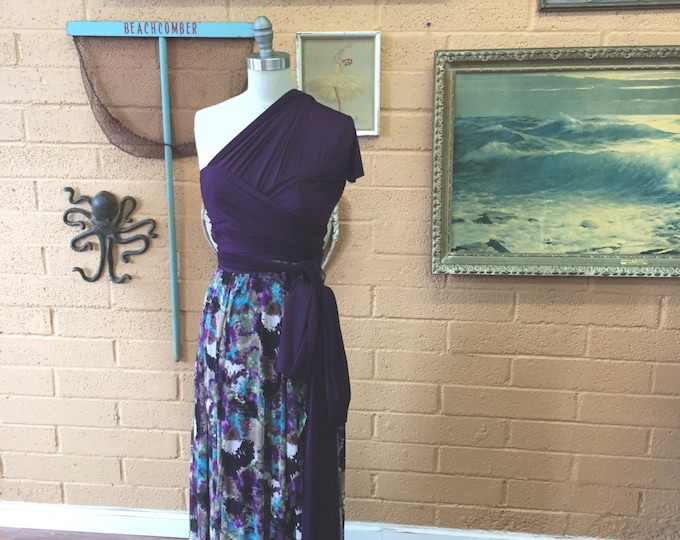 Plum Floral Mesh~Tulip Cut Octopus Wrap Dress with Poipu Plum Straps and Underskirt. Great for Bridesmaids, Maternity, Plus size, etc.