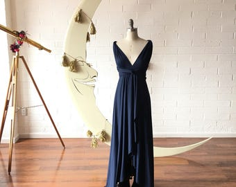 "Ready Made-  TULIP HEM CUT Petite 51"" Long- Aegean Sea Tardis Navy Blue Infinity Wrap Gown- Converts to Strapless, Backless, Grecian"
