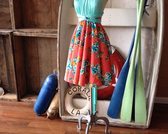 "Ready to Ship- 24"" Circle Skirt- Frida Coral Flora-l Octopus Infinity Wrap Dress with Retro Surfboard Mint Satin Straps"