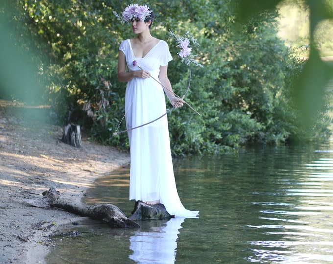 Cotton's White~Triple Layer Sheer Chiffon~Ethereal Convertible Wrap Gown-Octopus Infinity Dress~NO TRAIN