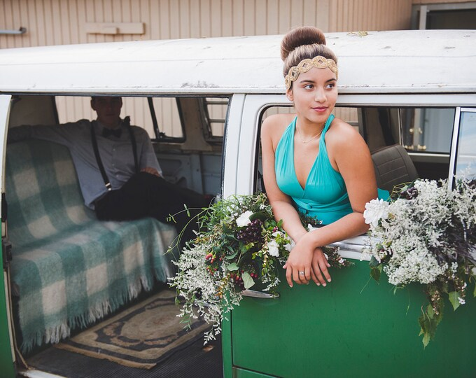 High/ Low cut Prom Maxi Infinity Wrap Dress-Custom Choose from 55+ Colors ~ Laguna Pool Turquoise~ Grecian, Boho Prom, Bridesmaids