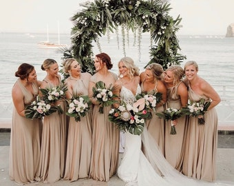 Trestles Sand Champagne Shimmer- Silky Satin Jersey-Octopus Convertible Infinity Wrap Dress. Bridesmaids, Wedding, Prom, etc.