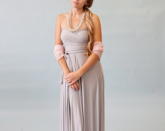 Nantucket Fog Grey Satin Jersey- Infinity Convertible Wrap Maxi Dress-Long Gown, Bridesmaids, Wedding, Prom, Maternity