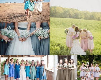 Short Circle Skirt Infinity Dress- Mismatched Bridesmaids Octopus Wrap Dress- Choose from over 55 colors