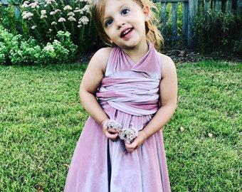 Girl's Short Velvet Infinity Twirl Wrap Dress- Custom choose from 7 colors.  Shown in Seahorse Duty Peach Velvet- Flower Girl, Junior Bride