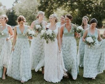 Coralie Beatrix Vintage Style Lace Long Infinity Wrap Dress- Choose your Fabrics- Song of Sagebrush, Greyed Jade, Dusty Mint, White Lace