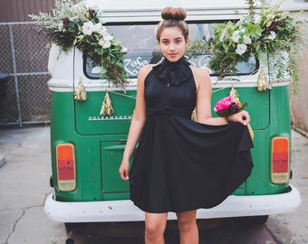 Short Classic Little Black Dress- Octopus Infinity Wrap Dress - Customize Bridesmaids, Maternity, Plus Size, Mismatched, etc.