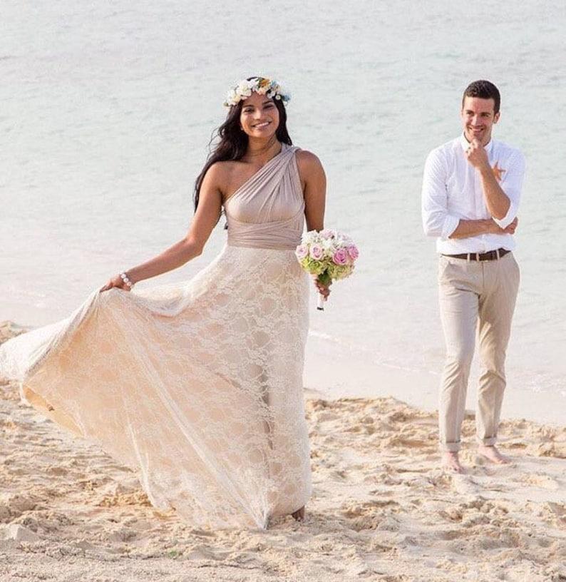 7f10b55ab21 Lace Bohemian Bride Long Infinity Wrap Dress-Custom choose